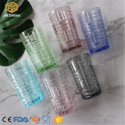 圆柱竖条玻璃水杯
