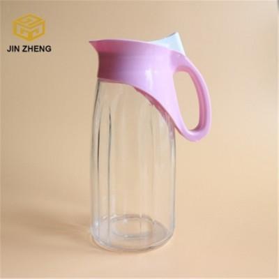 塑料盖条纹玻璃壶