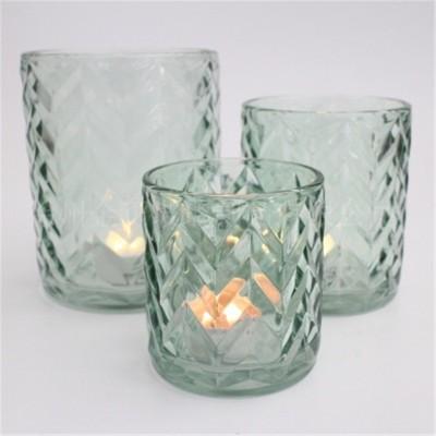 波浪纹浅半透明蜡烛杯