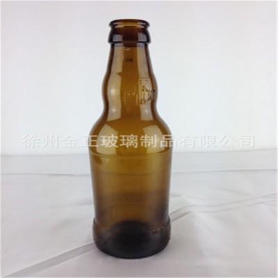 新款带图案棕色玻璃啤酒瓶